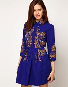 Enlarge ASOS Shirt Dress With Gold Embroidery - £85