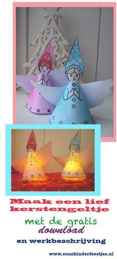 Een engel voor #kerst knutselen met deze  gratis download en werkbeschrijving op www.suuskinderfeestjes.nl. Met een elektrisch lichtje eronder is de engel een leuk lampje Make this nice angel with the free download and tutorial on www.suuskinderfeestjes.nl