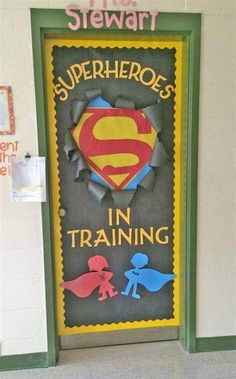 Check out these cool back to school bulletin boards! Welcome students with these creative bulletin board and classroom door decorating ideas. Door Bulletin Boards, Back To School Bulletin Boards, Preschool Bulletin Boards, Bulletin Board Ideas For Teachers, Butterfly Bulletin Board, Creative Bulletin Boards, Superhero Classroom Door, Classroom Themes, School Classroom