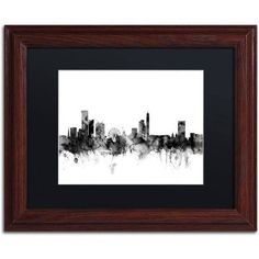 Trademark Fine Art Birmingham England Skyline B Canvas Art by Michael Tompsett, Black Matte, Wood Frame, Size: 11 x 14, Gray