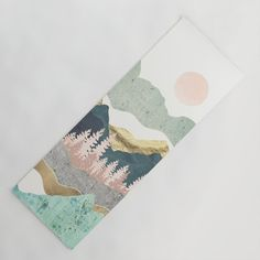 Beautiful yoga mat with mint, blush, grey and gold design of mountain views. Perfect gift for yoga enthusiasts who love nature and stylish design. Yoga Matt, Moon Beach, Travel Yoga Mat, Beach Yoga, Funny Tattoos, Yoga Accessories, Retro Art, Latex Free, Art And Architecture