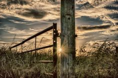 gate post at dusk