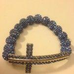 Long Light Blue Shamballa Cross Bracelet