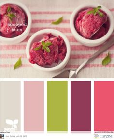 Color Palettes | Love this combo of green and pink/plums together. Photo looks yum as well!