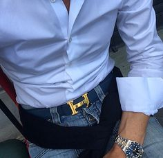 Casual outfit with leather Hermes belt