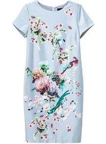 Blue Short Sleeve Floral Slim Bodycon Dress