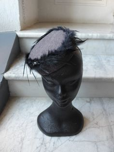 Free Shipping Black Red Pillbox Hat Wool Hat Feathers Evening Hat Church Hat Winter Autumn Hat Headpiece with Feathers Gift for Her JCN by JCNfascinators on Etsy