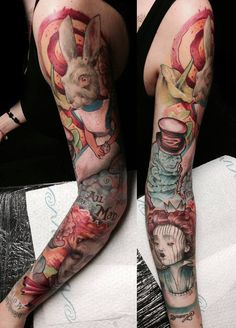 Alice in Wonderland full sleeve tattoo - 80+ Awesome Examples of Full Sleeve Tattoo Ideas  <3 !