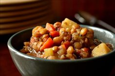 Easy Lentil Stew from Food.com: This is a yummy Lentil Stew made with mostly what is in your pantry. It is only four servings so you won't have tons left over. Simple but delicious!