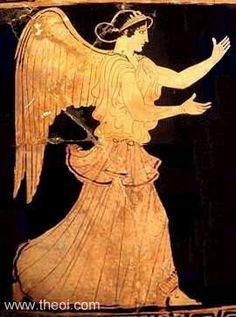 Eos, diosa de la aurora. Eos abría las puertas del infierno para que Helios pudiera conducir su carro por el cielo cada día.