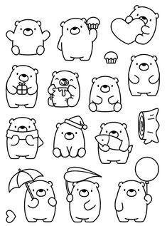 Cute Easy Drawings, Kawaii Drawings, Doodle Drawings, Animal Drawings, Cute Doodle Art, Cute Art, Doodles Bonitos, Bullet Journal Ideas, Animal Doodles