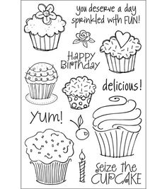 "Hero Arts Clear Stamps 4""X6"" Sheet-Cupcakes"