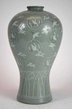 Korean Porcelain Celadon Vase With Cranes - Aug 2015 Korean Pottery, Asian Wife, Fired Earth, Green Street, Porcelain Vase, Fashion Branding, Ceramic Pottery, Crane, Surface