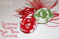 Christmas Rosette Hair Bow Tutorial