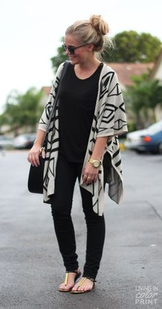 Who says you can't be casual and stylish? A geometric poncho adds all the flair you need.