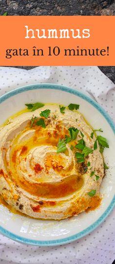 Rețeta clasică de hummus libanez, gata în doar 10 minute. Cum se face pasta de năut, cu tahini, ulei de măsline și multe mirodenii. Ce fel de năut folosim la hummus și ce condimente? #bucatearomate #hummus #hummuslibanez #retetahummus #tahini #hummuscutahini #hummuscunautdinconserva #hummusrapid #hummusreteta #pastadenaut Hummus, Veggies, Ethnic Recipes, Food, Homemade Hummus, Meal, Vegetables, Eten, Meals