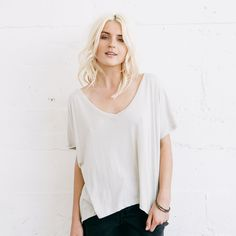 Sedona Relaxed Tee - Our all-new 'Sedona' tee is made with a live-in soft material, accented with a unexpected details like a slight v-neck and subtle high-low hemline. An update on the basic tee, the 'Sedona' will be the lightweightessential you need for everyday.