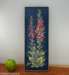 "Vtg Karlsruhe Majolika German Pottery - 19"" Wall Art Tile Floral Majolica Plaque"
