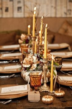 Gilded decor for Thanksgiving day. Personally,  I go for white and ivory, but this is lovely
