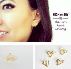 DIY Clip On Heat Earrings from High on DIY here.These are really easy to make and are like a lot of the ear cuffs Ive posted.For more DIY ear cuffs go here:truebluemeandyou.tumblr.com/tagged/ear-cuff. For wire DIY jewelry and wire wrapping tutorials go here:truebluemeandyou.tumblr.com/tagged/wireand for heart jewelry and hearts of all kinds go here:truebluemeandyou.tumblr.com/tagged/heart