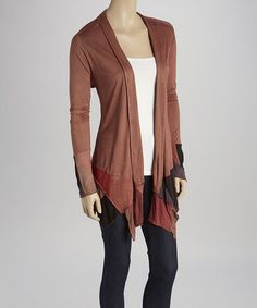 Love this Brown & Rust Asymmetrical Hem Open Cardigan on #zulily! #zulilyfinds