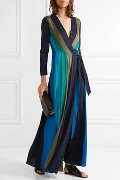 Diane von Furstenberg - Penelope Paneled Stretch-silk Wrap Maxi Dress - Blue - US