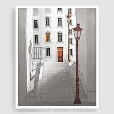 MORNING SHINE - Paris Illustration - Fine Art Giclee Print signed by the artist.  Available in numerous sizes. Great for decorating a home or office. Complete your Paris décor with this beautiful Parisian Art Print!