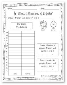 In Like a Lion, Out Like a Lamb- Craft and Writing Templates Miss Kindergarten, Kindergarten Classroom, Teaching Math, Teaching Ideas, Kindergarten Writing, Classroom Fun, Classroom Activities, Spring Activities, Preschool Worksheets
