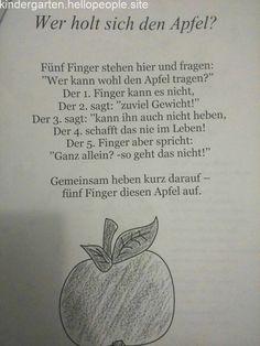 Finger game about apple - Wald Kindergarten Activities, Activities For Kids, Finger Games, Kindergarten Portfolio, The Rainbow Fish, Kids Poems, Learn German, German Language, Special Education
