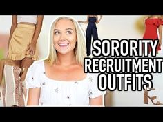 What To Wear To Sorority Recruitment   Sorority Recruitment Outfits - YouTube Sorority Recruitment Outfits, Sorority Rush, College Sorority, Maybelline Age Rewind Concealer, Bridesmaid Dress Stores, Formal Dresses Online, Open Back Prom Dresses, Mermaid Evening Dresses, What To Wear