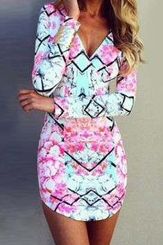 Sexy Plunging Neck Floral Print Bodycon Long Sleeve Dress For Women