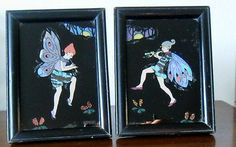 TWO DECO FAIRY BUTTERFLY WING PICTURES WITH OAK FRAMES PAT 202213