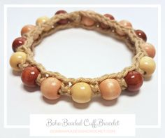 Get the Free Pattern for the Boho Beaded Cuff Bracelet Today! Yarn: Lion Brand Yarns Bonbons® - Nature 8.4 yds (7.5 m) for size Small. Photo Tutorial too!