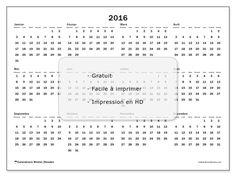 Calendrier  2016 à imprimer, gratuit. Calendrier annuel : Gregorius (D). La semaine commence le dimanche