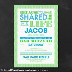 Vivid and Vibrant Bar Mitzvah Invitation is a modern typography design for inviting guests to your sons's Bar Mitzvah celebration.  This design and more Mitzvah invitations can be seen at www.printedcreations.carlsoncraft.com.  #barmitzvahinvitations