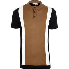 River Island Big and Tall brown colour block polo shirt (50 BGN) ❤ liked on Polyvore featuring men's fashion, men's clothing, men's shirts, men's polos, mens knit shirts, mens polo shirts, mens brown shirt, mens short sleeve polo shirts and mens short sleeve shirts