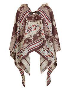 Inca Toggle Hooded Poncho | Nude | Accessorize