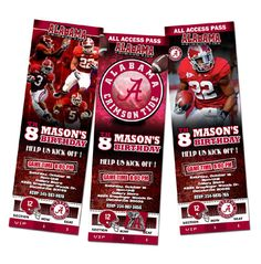 Alabama Birthday Party Invitations Ticket football nfl by mimisal