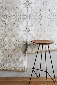 Powder Room Wallpaper, Accent Wallpaper, Dining Room Wallpaper, Unique Wallpaper, Bathroom Wallpaper, Of Wallpaper, Modern Kitchen Wallpaper Ideas, Geometric Wallpaper, Bedroom Ceiling Wallpaper