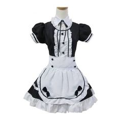 Black and White Sweet Maid Lolita Dress ❤ liked on Polyvore featuring dresses, black and white dress, white black dress, white and black dress and black white dress