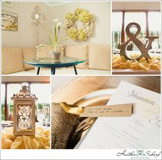 """Details...""""and"""" sign for the Bride and Groom table, lantern, coffee beans to signify where they fell in love"""