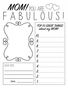 Mother's Day Printable Worksheet that the kiddos can color! So fun!