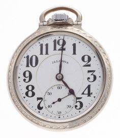Illinois 21 Jewel Open Face Pocket Watch Case: gold filled, 16 size, plain screw back Dial: enamel, double sunk, - Available at Tuesday Internet Watch and. Old Pocket Watches, Awesome Watches, Pendant Watch, Open Face, My Pocket, Gold Letters, Watch Case, Illinois, Hamilton