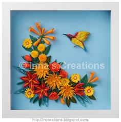 Sunbird and flowers, paper quilling by Inna's Creations, via Flickr