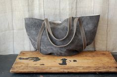 jude tote, organic grey hand dyed cotton - enhabiten