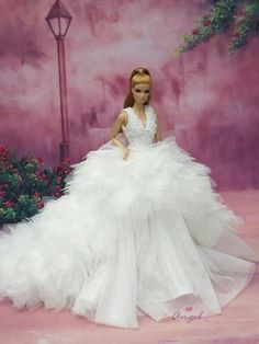 7d2441f58fb0 Wedding Gown for Fashion Royalty BArbie 12 inches Doll