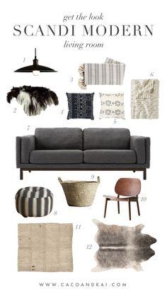Scandi Modern living room interior design moodboard boho
