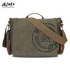 Color : ArmyGreen KRPENRIO Leisure Mens Briefcase Magnetic Waterproof Canvas Cross Body Bag Shoulder Bag