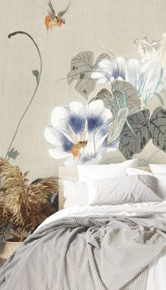 This boho bedroom interior just screams relaxing vibes! From the natural wooden bed and crisp white bedding to the trendy pampas grass décor and beautiful oriental mural, we can't get enough of the fresh colours and calming floral design. Paint surrounding walls in off white or light grey to create a cohesive colour scheme and ad pastel or powder blue throughout if you fancy a pop of colour! Shop now at Wallsauce.com! Bedroom Design Inspiration, White Bedding, Designer Wallpaper, Color Pop, Color Schemes, Floral Design, Tapestry, Colours, Painting