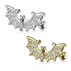 """CZ PAVED DEVIL HEART CARTILAGE TRAGUS EAR PIERCING BARBELL STUD JEWELRY 16G 1//4/"""""""